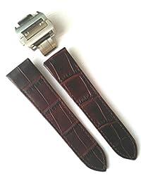 23mm Choc. Brown Alligator Grain Leather Strap Watch Band Fits CARTIER SANTOS 100 XL Non-Chronograph