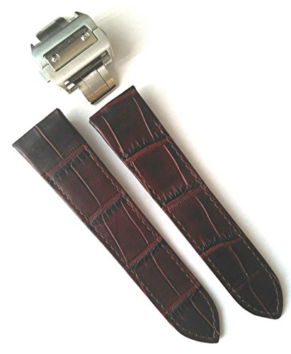 23mm-choc-brown-alligator-grain-leather-strap-watch-band-fits-cartier-santos-100-xl-non-chronograph