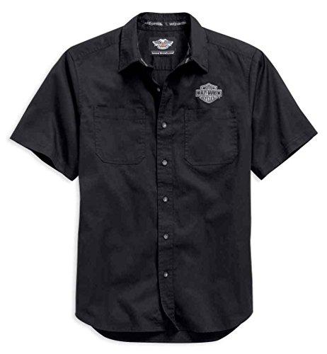 HARLEY-DAVIDSON Logo Short Sleeve Knit Woven Shirt Black. 99013-15VM (XX-Large) (Biker Logo T-shirt)
