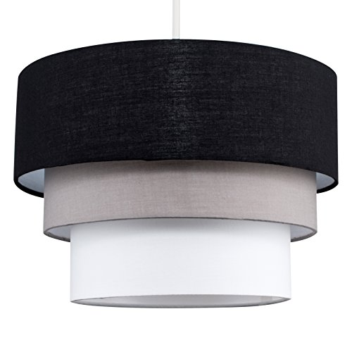 MiniSun - Preciosa pantalla de lámpara de techo colgante Azteca - redonda a 3 niveles de tela en negro, gris y blanco