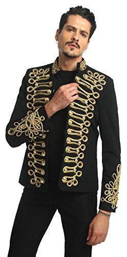 Pizoff Men's Luxury Gold Slim Fit Stylish Suit Blazer Jacket Long Sleeve Formal Dress AD001-03-L by Pizoff