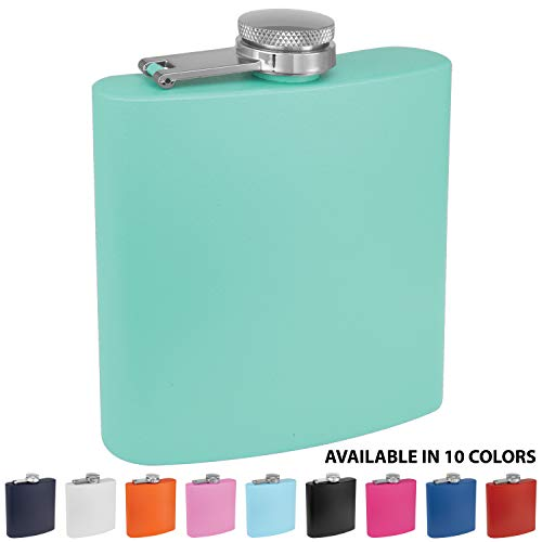Clear Water Home Goods - 6 oz Powder Coated Stainless Steel Hip Flask - Wedding Party - Groomsman - Bridesmaid (Matte Teal, 1) ()