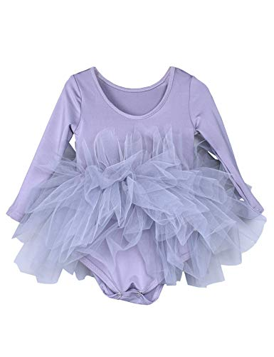 Kids Girls Ballet Tutu Dress Gymnastics Long Sleeve