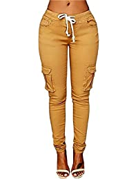 Womens Solid Color Stretch Drawstring Skinny Pants Cargo...