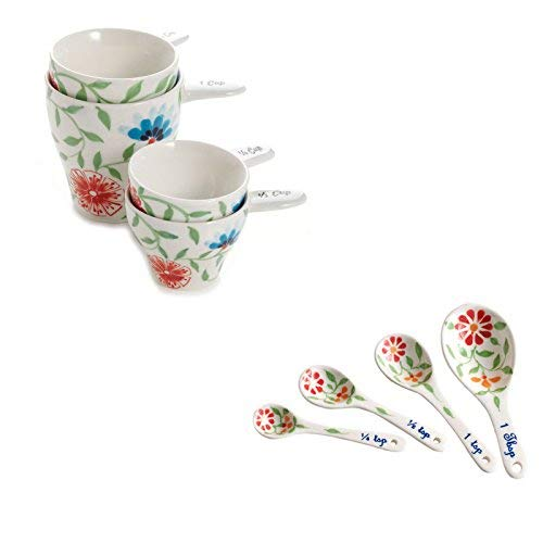 Porcelain Painted Accessory Hand - Ceramic Exotic Flower Design Hand Painted Kitchen and Dining Serveware Accessories The Crabby Nook (Measuring Cups & Spoons)