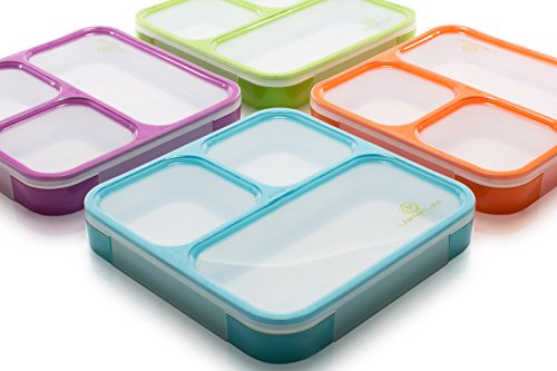 d7b8389e5461 Bento Lunch Box by Lifemark Labs - Stylish Leakproof Microwavable Lunch kit  with 3 Compartments - For Kids & Adults - 100% Food Safe Design - Easy ...