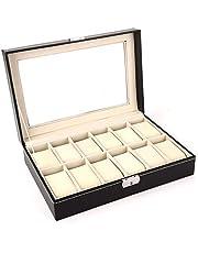 صندوق مجوهرات عالي الجودة مكون من 12 مقصورة من الجلد - صندوق منظم من جلد تمساح، لون اسود - OSBZ15