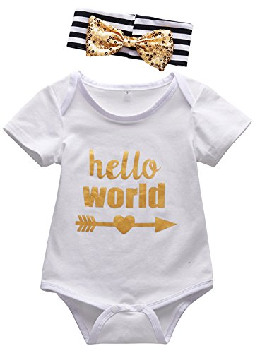 [Mombebe Baby Girls' Letter Bodysuit with Headband (12-18 Months, White)] (White Party Outfit Ideas)