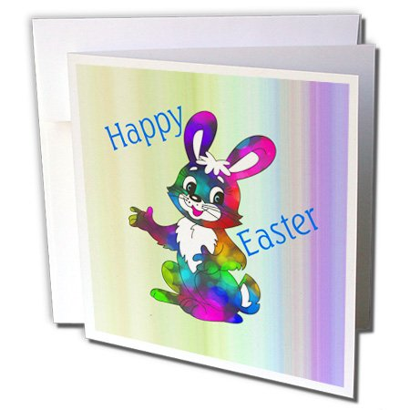Florene Holiday - Image of Neon Color bunny On Green violet Gradient - 6 Greeting Cards with envelopes - Gradient Violet