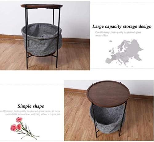 Tables Bouts de canapé Basses Basse Basse 2 Couches Canapé de Bout Ronde Support de Rangement Multi-Fonction à thé, 42,3 * 60 CM