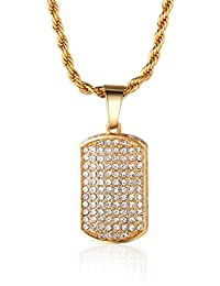 """Halukakah """"IN GOLD WE TRUST"""" Men's 18k Real Gold Plated Dense Cz Inlay Tag Pendant Necklace with FREE Rope Chain 30"""""""