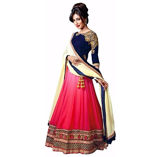 Fab Glory Women's Black Heavy Embroidered Designer Lehenga Choli (Semi-Stitched) -