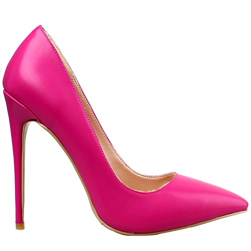Red PU Heel 4 Toe ZAPROMA Rose Size High Pumps Pointed 15 for Luxury Stilettos Women Shoes US xYxta7
