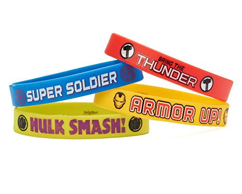 - Avengers Rubber Bracelets, 4 Count, Party Supplies Novelty, Multicolored