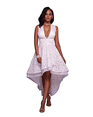 Womens Sexy Elegant Deep V Sleeveless Grocet Lace High Low Party Club Dress