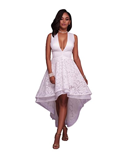 Womens Sexy Elegant Deep V Sleeveless Grocet Lace High Low Party Club Dress (L, White)