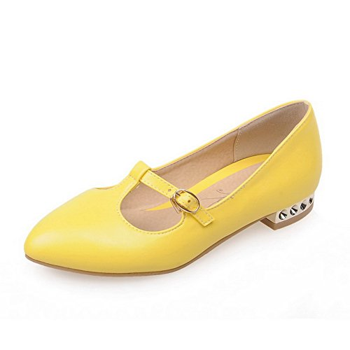 BalaMasa Ladies Buckle Pointed-Toe Solid Urethane Flats Shoes Yellow dtPdEb