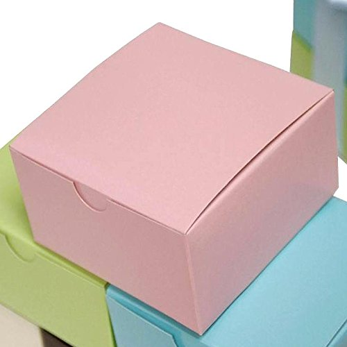 Efavormart 100pcs of 4x4x2 Pink Cake Box for Candy Treat Gift Wrap Box Party Favor Boxes for Bridal Shower Wedding Party