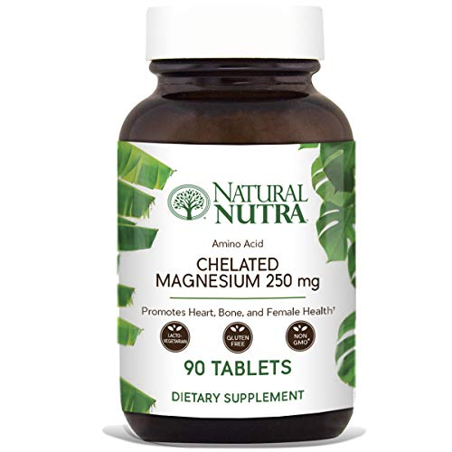 Natural Nutra Chelated Magnesium Oxide Supplement with Amino Acid Chelate for High Absorption, 250 mg, 90 Tablets