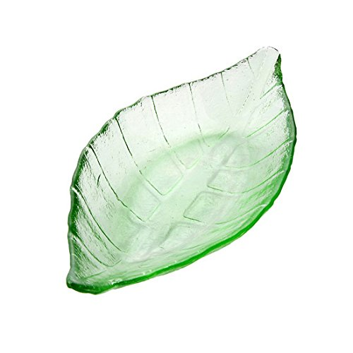 Lautechco Creative Glass Hand-colored Leaves Saucer Small Snack Tableware Dish Flavored Vinegar Sauce Dish (Green) (Leaf Dish Glass)