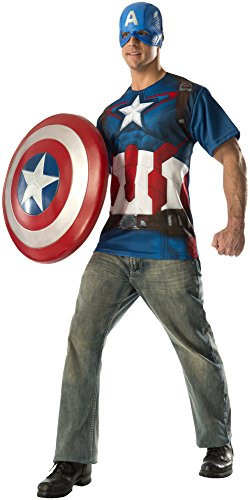 Rubie's Costume Co Men's Avengers 2 Age Of Ultron Adult Captain America T-Shirt and Mask, Multi, Large