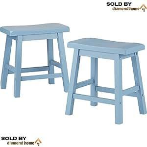 Amazon Com Light Blue Saddle Stool 18 Inch Set Made Of