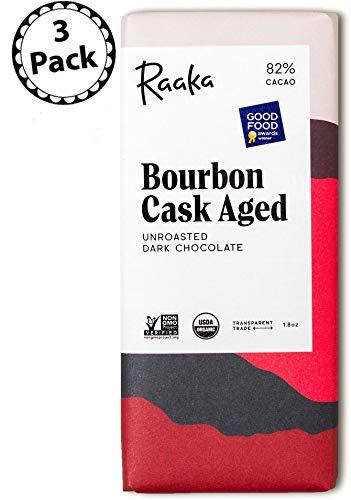 Raaka Chocolate Bourbon Cask Aged Dark Chocolate 82% Cacao (1.8oz Bar - 3 Pack), Organic, Non-GMO, Kosher Premium Craft Chocolate, Vegan, Gluten and Soy Free, Bittersweet, Bean-to-Bar Chocolate
