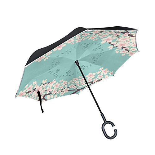 hengpai Plum Blossom Reverse Inverted Inside Out Umbrella Cars Unigue Windproof UV Proof Double Layer for Women