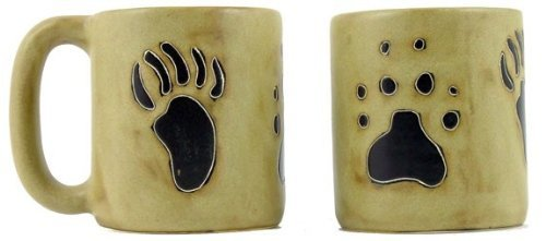 One (1) MARA STONEWARE COLLECTION - 16 Oz Coffee Cup Collectible Mug - Bear & Wolf Paws Design - Bear Stoneware