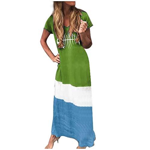 Women Color Block Patchwork Loose V-Neck Short Sleeve Maxi Long Dress (Easter Sales After Day)