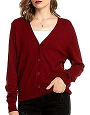 Woolen Bloom Cardigan Damen Strickjacke Kurz V-Ausschnitt Langarm Cardigans mit Knöpfe Elegant Outwear Top für Herbst Winter