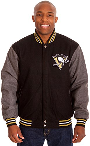 Pittsburgh Penguins Mens 2 Tone Black & Gray Wool & Nylon Reversible Jacket (X-Large)