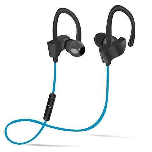 Bluetooth Headphones with Earhook Mic Wireless Earphones Sports in-ear Earbuds Sweatproof Noise Canceling V4.1 Headphones for Workout Running (Blue)