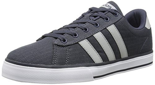 adidas NEO Men's SE Daily Vulc Lifestyle Skateboarding Shoe,Navy/Clear Onix Grey/White,7.5 M US