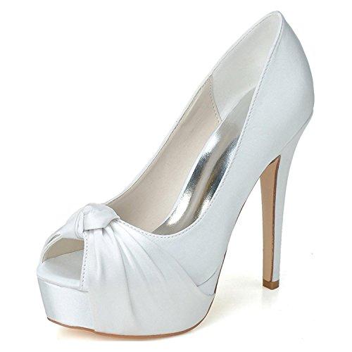 Fino Tamaño La De Zapatos Satinado Plataforma Mujer Gran Tacón Primavera L Otoño Verano White yc Boda Multicolor TI7xZq