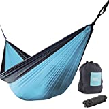 Rallt XL Single Camping Hammock - Ripstop Parachute Nylon, Lightweight & Portable, Includes Hanging Gear, 12kN Aluminum Wiregate Carabiners (Blue/Charcoal, 305 x 188 Centimeters)