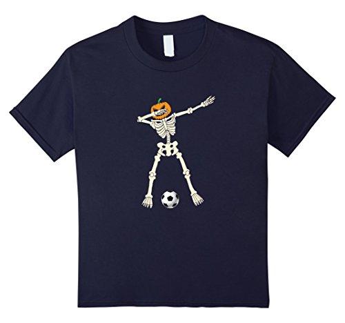Soccer Mom Halloween Costumes (Kids Halloween Dabbing Skeleton Soccer T-Shirt Costume 10 Navy)