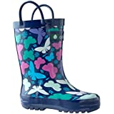 OAKI Kids Rubber Rain Boots with Easy-On Handles, Butterflies, 7T US Toddler
