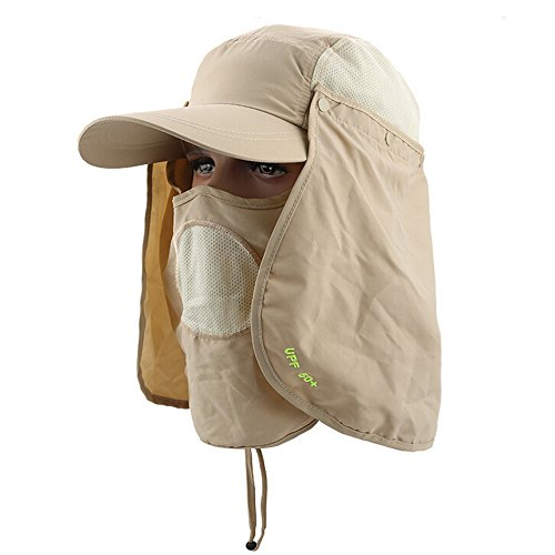 Ezyoutdoor Breathable Outdoor Jungle Fishing 360 Degree UV Protection Sun Block Quick-drying Hat with Removable Sun Shield & Mask,One Size Fit Most (Light (Day Of The Dead Mask For Sale)
