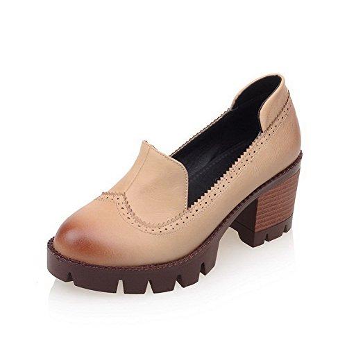 Amoonyfashion Mujeres Soft Material Pull En Cerrado Round Toe Kitten-heels Solid Pumps-Zapatos Albaricoque