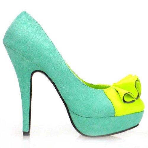 Mostrar historia mujeres volantes dos tono plataforma bombas de aguja zapatos de tacón alto, LF30415 agua