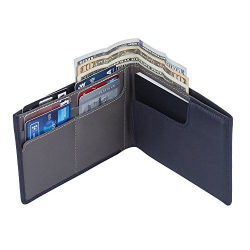 Genuine Sheep Leather RFID Blocking Travel Wallet & Passport Holder for Men and Women - Blue ()