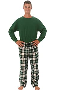 Del Rossa Men's Flannel Pajamas, Knit Top Cotton Pj Set