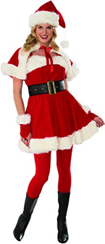 (Secret Wishes Velvet Flirty Miss Santa Costume, Red,)