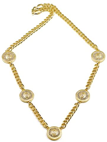 GWOOD Five Medusa Head Gold Color Iced Out Pendant Necklace (Chief Keef Pendant)