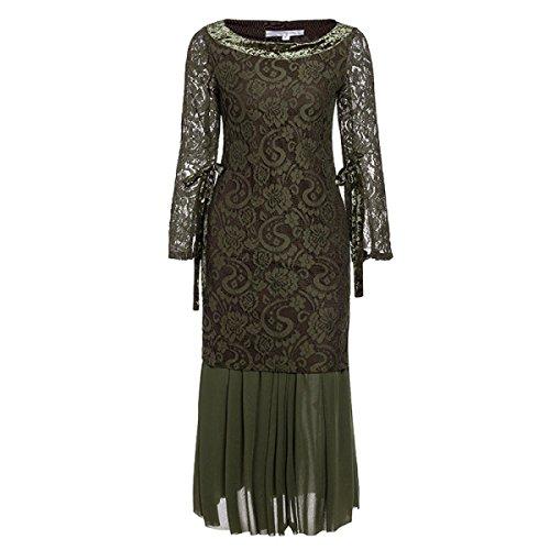 Vestido De Encaje Color Sólido Del Cordón De Las Mujeres DarkGreen