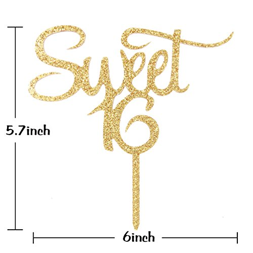INNORU Sweet 16 Cake Topper - Gold Glitter Acrylic Sweet Sixteen Cake Topper - Happy 16th Birthday Party Decorations Supplies