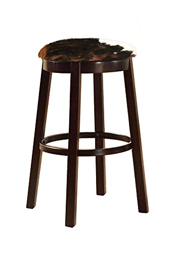 The Furniture Cove Western Style 24″ Tall Espresso Wood and Metal Bar/Game Room/Kitchen Swivel Bar Stool with Your Choice of an Authentic Cowhide Covered Seat Cushion (Dark Brown and White) For Sale