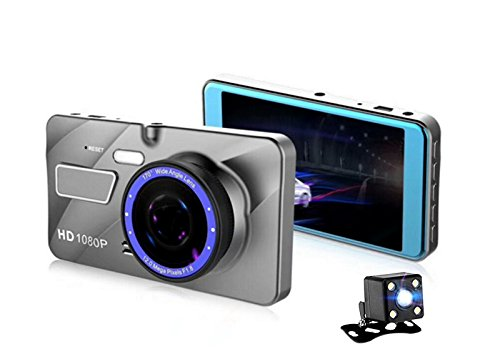 Dual Vision Screen (Car Dash Camera, 1080p Wide Screen Dash Cam Parking Assistance, 4 inch LCD Screen Dual Lens Dash Camera 170 Degree angle Super night Vision G-Sensor WDR and Motion Detection)