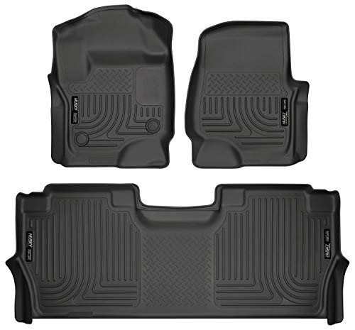 Husky Liners 94061 Combo Set Black Front and 2nd Seat Floor Liners Fits 2017-19 Ford F-250/F-350 Crew Cab with Factory Storage Box